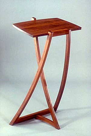 Walnut dictionary stand by Peter Korn, 1981