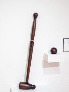 "Thomas Hucker - Jersey City, NJ. Croquet Mallet: Walnut, stainless steel 32"" x 7"" x 3"" $1000"