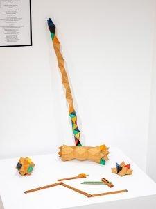"Yuri Kobayashi - Camden, ME. a Peculiar Woodworker's Croquet Mallet and Ball: Douglas fir, poplar, dyed veneer, oil finish 31"" x 12"" x 3"" $2020 for mallet and ball Folding Ruler, Protractor, Sliding Bevel by Chelsea Witt - Camden, ME $100 each"