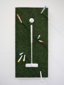 """Adam John Manley - San Diego, CA. Ghost Mallet: For the Watertown Eight: Beech, faux turf, whitewash, paint 40.5"""" x 23"""" x 4"""" $3500"""