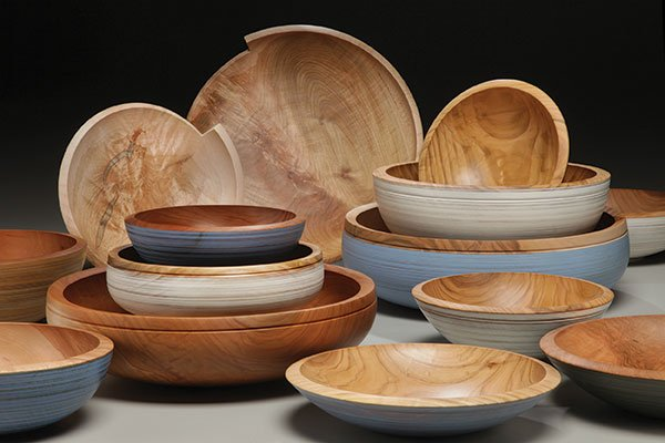 """Bowls by Mark Gardner, maple and cherry (9""""-16""""dia.), 2012"""