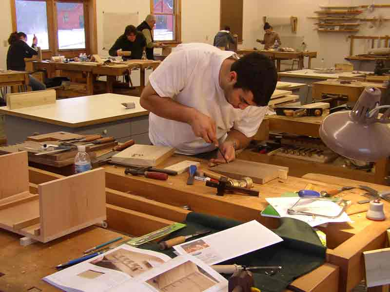 Students at work in the Furniture Intensive
