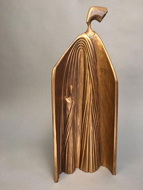 "Clara Cohan   Cape Elizabeth, ME. Gaurdian, 2017. Butternut, metallic gold wax. $3,600. 19.5"" x 7"" x 4""."