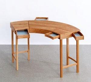 "Kate Davidson   Milton, MA. Goldfish Desk, 2018. Red birch, red birch veneer, cherry, cherry ply, MDF. NFS. 31"" x 55"" x 30""."