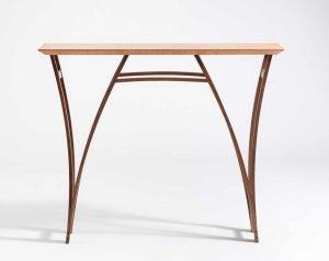 "Dev Flaherty  Camden, ME. Arches Foyer Table, 2019. Anigre veneered tabletop, walnut, oil finish. $1,700. 36"" x 42"" x 12""."