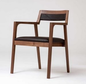 """Jeffery Mazur   Boothbay, ME. Task Chair, 2018. Walnut, leather, lacquer. NFS. 30"""" x 23"""" x 21""""."""