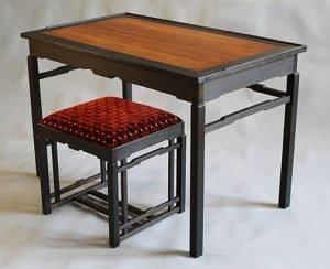 """Kevin Rodel   Portland, ME. Chinese-style Writing Desk, 2018. Cherry, mahogany, ash, ebonized cherry, linseed oil. NFS. 30"""" x 46"""" x 27""""."""