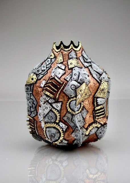 George Partal, MD | Bangor, ME. Fortified Armor, 2020. Locally harvested oak, pyrography, Pebeo guilding waxes, acrylic paint, gold and silver foil. $499. 11