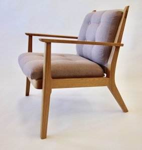"""Clayton Thompson for Endeavour Craftsmen Rockland, ME. Arbor Lounge Upholstered Chair, 2019. White oak, upholstery, oil finish. $3,300. 32"""" x 26"""" x 30""""."""