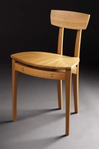 """Oak Chair by Peter Basil, white oak with wenge details (18""""x20""""x25""""), 2011"""