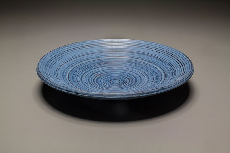 """Textured platter by Al Stirt, cherry and milk paint (10""""dia.x2""""), 2017"""