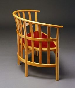 """Pleisner Chair by Beeken Parsons, bitternut hickory, sheep's fleece, and vegetable-tanned leather (42""""x21.5""""x34.5""""), 1996"""