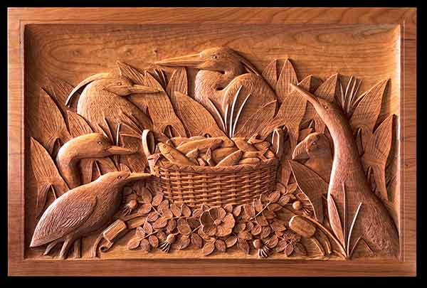 """The Basket Catch, bas-relief hearth panel in cherry by John Bryan (21""""x34""""x3""""), 2009"""