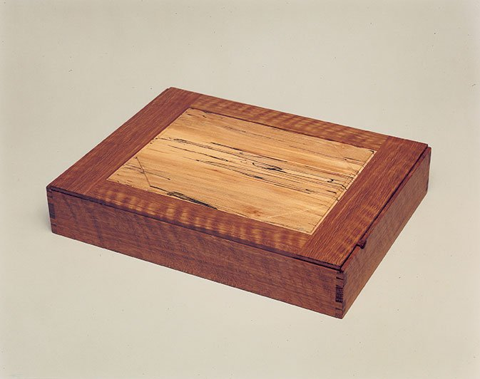 """Jewelry box by John Cameron, curly white oak and spalted beech (12¼""""x9""""x2¼""""), 2003"""