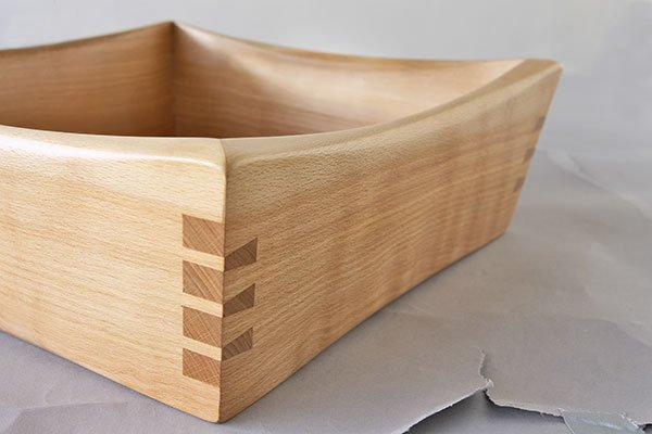 """Detail of fruit bowl by Rob Chamberlin, beech (11""""x11x3.25""""), 2010"""