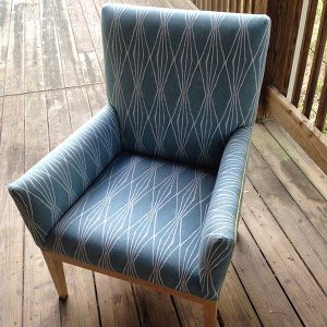 Each student upholsters a chair along the lines of this one made by a previous participant in one of Annie's courses.