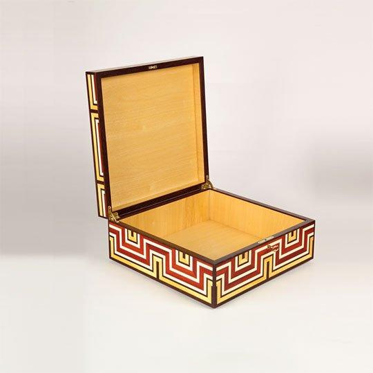 """Santa Fe Box by Adrian Ferrazzutti, bloodwood, holly, pau amarillo, and wenge (10""""x10''x5""""), 2008"""