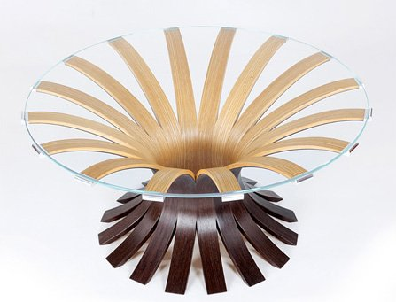"""Airburst Table by Adrian Ferrazzutti, ash, wenge, aluminum, and glass (42""""x14""""), 2010"""