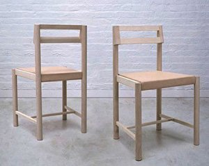 """Dining Chair No. 8 by Reed Hansuld, maple and vegetable tanned leather (19¼""""x17.5""""x32¼""""), 2019"""
