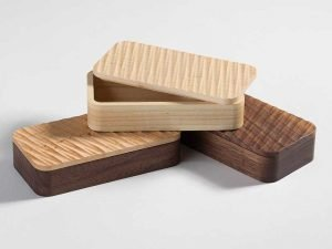 """Small boxes by Mark Juliana made on the CNC with reclaimed wood (5¼""""x2 5/8"""" x 1¼""""), 2016"""