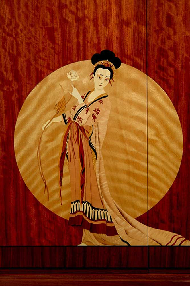 Marquetry detail of Turnadot Cabinet by Jim Macdonald (after illustration by George Barbier), 1999