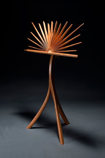 """Music Stand by Seth Rolland, cherry and quilted maple (29""""x19""""x53""""), 2015 Photo credit: Myron Gauger"""