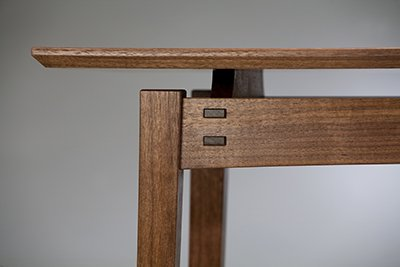 """Detail of Eastern Hall Table by Tim Rousseau, walnut (48""""x31 1/2""""), 2012"""