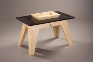 """Ash table designed by Matt and John Silverio for the exhibition """"Getting Personal: Maine Architects Design Furniture"""" at CFC's Messler Gallery (34""""x20""""x20""""), 2006"""
