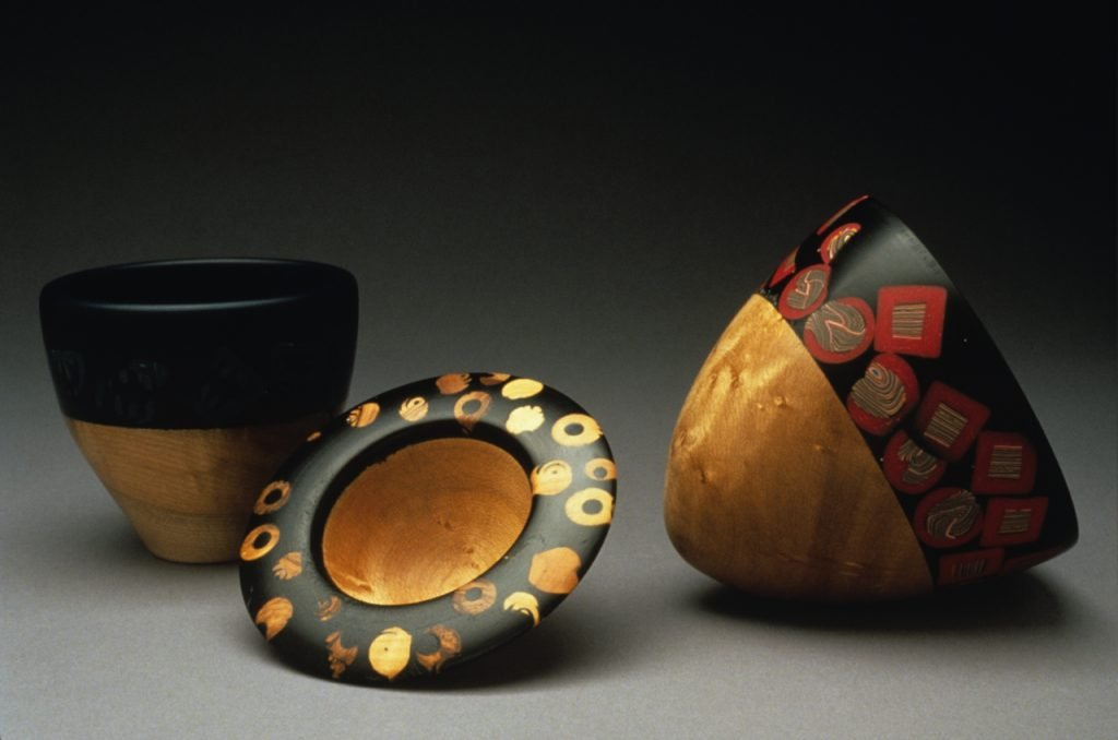 Three Small Vessels by Beth Ireland, maple, polymer clay, and epoxy, 2000