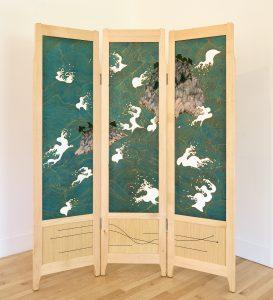 "Owain Harris | Center Barnstead, NH. Byobu Screen, 2018. Frame: Maple, sen, ebony, dyed veneers, oil, wax Screen: Silk paints, gouache, silk dye, oil pastel, acrylic on silk. 71"" x 60"" x 1.25"". $9,500. Painting by Gigi Aea | Camden, ME."