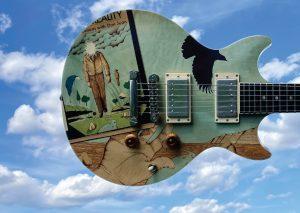"James Macdonald | Burnham, ME. Separate Reality, 2021. Honduras mahogany, Macassar ebony, assorted veneers, guitar hardware by others. 39"" x 13"" x 3"". $14,000."