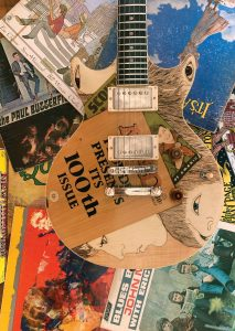 "James Macdonald | Burnham, ME. 1966, 2021. Honduras mahogany, Macassar ebony, assorted veneers, guitar hardware by others. 39"" x 13"" x 3"". $14,000."