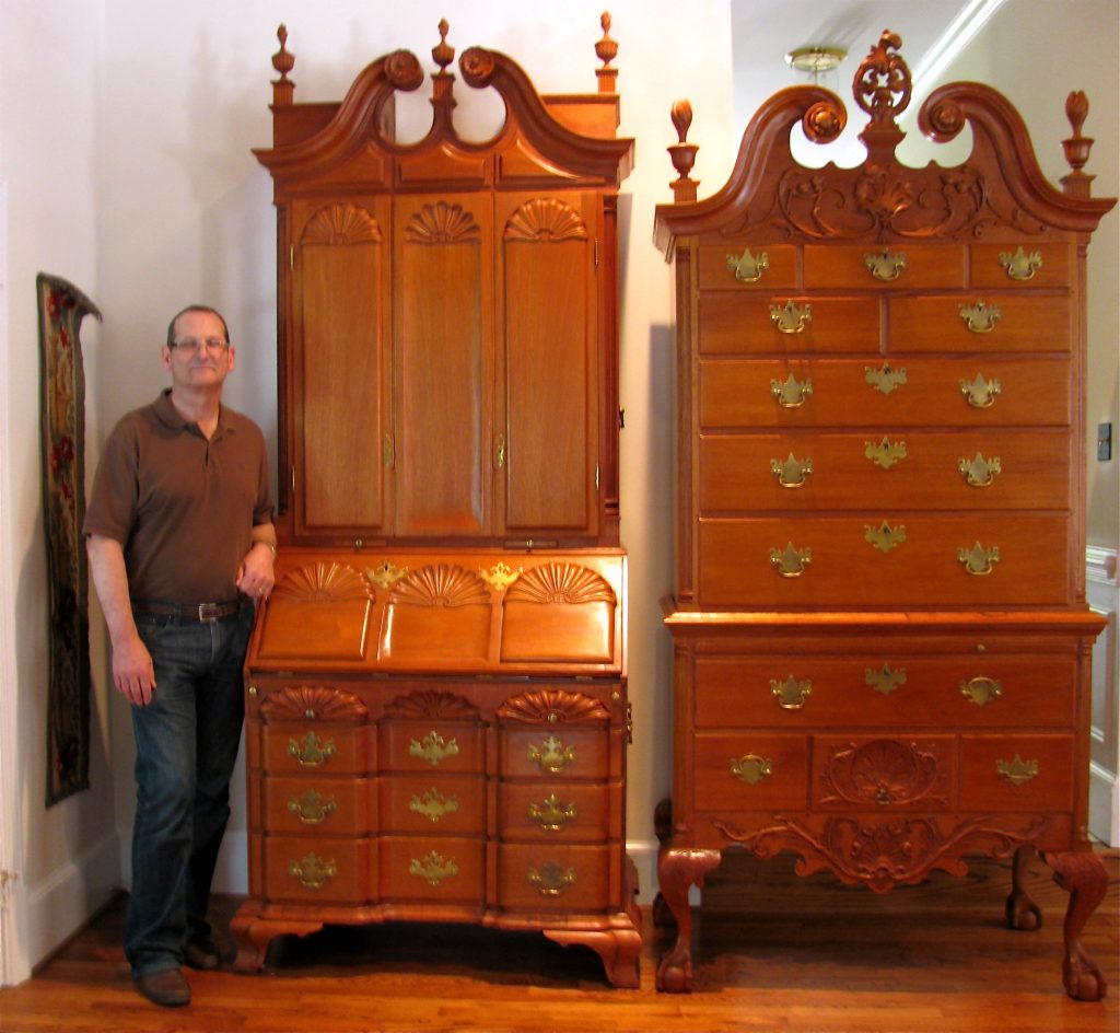 Limond Grindstaff 18th century high style Chippendale nine shell secretary and high chest