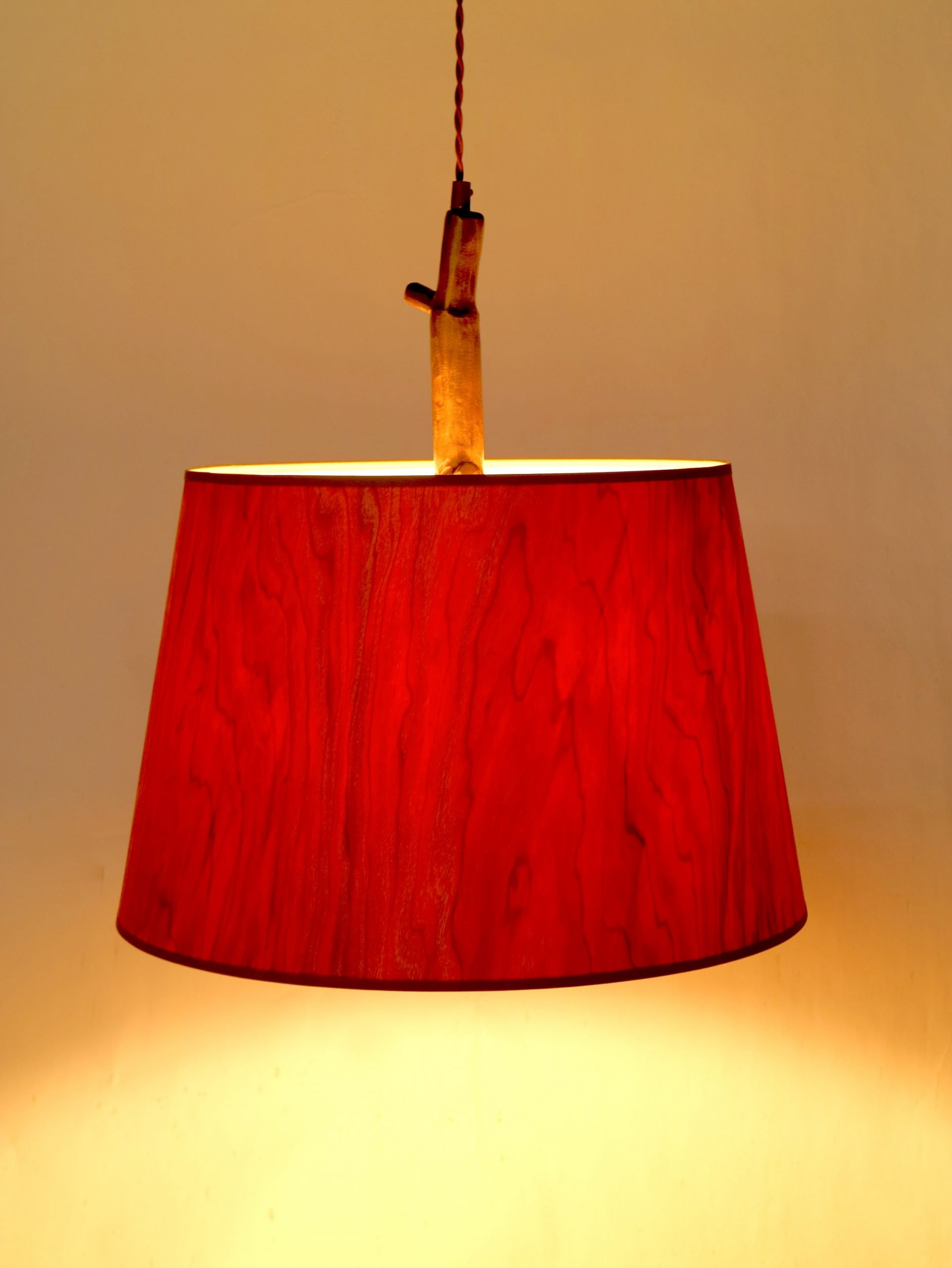 """WoodShade pendant by Christopher Poehlmann, cherry veneer on polystyrene and aluminum with bronze patina (shade is 18""""dia.x 12""""), UL listed, 2018"""