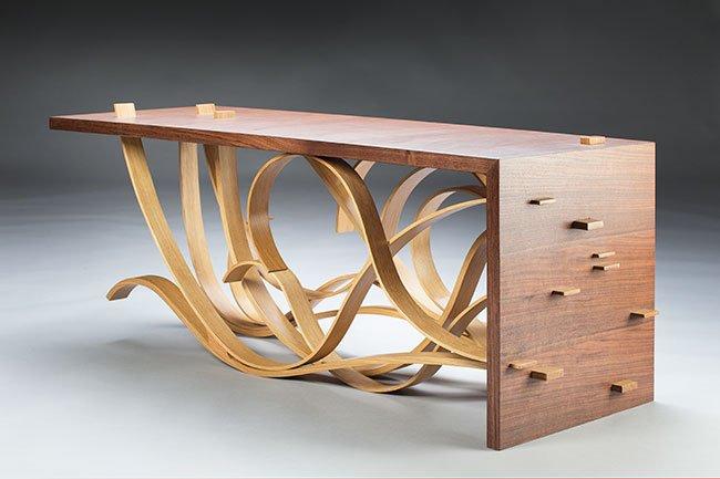 Jose Ramon Diaz Oldemburg Weston, FL. Vondel Table, 2016. Walnut veneer, oak, oil fiish. $5,500. 17
