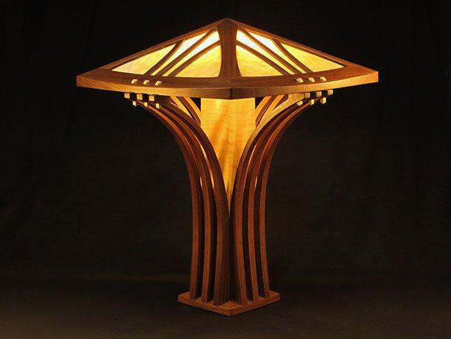 Joel Hokkanen Rockport, Maine. Bent-support Table Lamp, 2016. Walnut, curly maple, stained glass. $2,400. 27