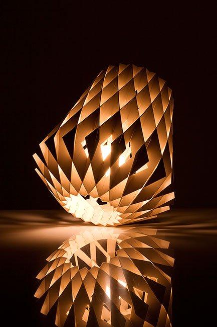 Showroom Finland Helsinki, Finland. PILKE 28 Table Lamp, 2017. Birch plywood. Available through www.uplight.com. 12