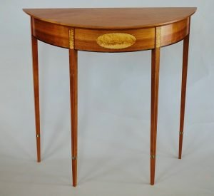 "Garrett Hack Thetford Center, VT. Demilune Table, 2013. Pear, apple, Brazilian rosewood, abalone, ebony, holly. 30"" x 33"" x 15"". $9,000."