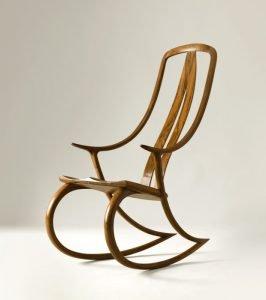 "David Haig Nelson, New Zealand. Monogram Rocking Chair, 2005. Walnut. 43"" x 24"" x 33.5"". Commissions Welcome."
