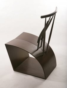 "Thomas Hucker Jersey City, NJ. Wenge Sidechair, 2008. Wenge. 35"" x 19"" x 23.5"". Courtesy of Fuller Craft Museum, Brockton, MA."