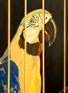 "Silas Kopf Northampton, MA. Macaw, 2020. Maple, assorted veneers. 77"" x 36"" x 16"". $50,000."