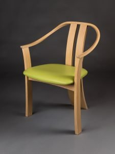 """Peter Korn Rockland, ME. Continuous-arm Chair, 2014. Ash, leather. 33"""" x 24"""" x 23"""". NFS."""