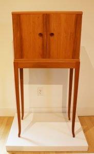 "James Krenov 1920 - 2009. Cabinet, 1991. Swiss pear, padouk, mahogany, fruitwoods. 51"" x 23.5"" x 13.5"". NFS."