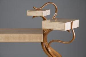 "David Upfill-Brown Gerringong, Australia. Cabot Cabinet #1, 2012. Cherry, hard maple, leather. 40"" x 58"" x 24"". NFS."